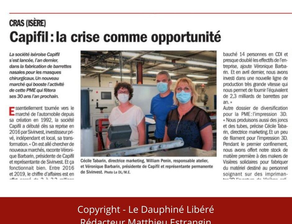 CAPIFIL - Actu Dauphiné Libéré - supplément Eco du 29 Juin.