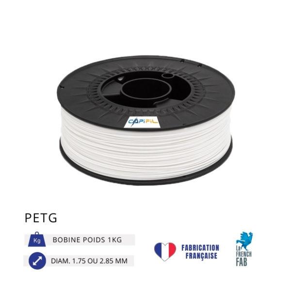CAPIFIL - Fil imprimante 3D PETG 1KG - Blanc