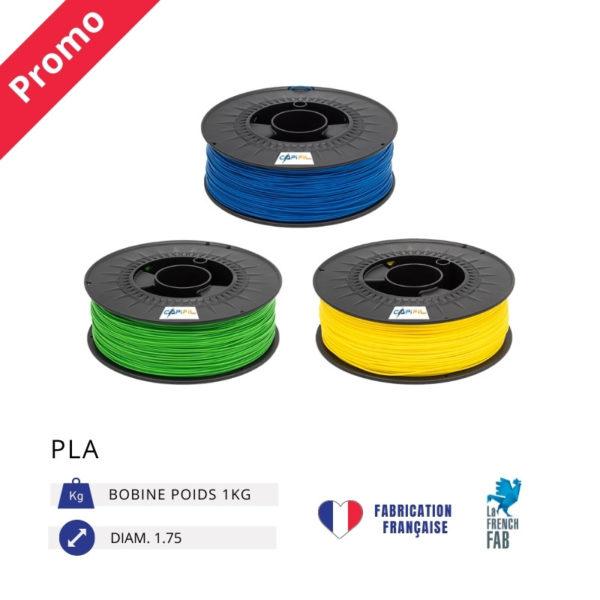 CAPIFIL - Fil imprimante 3D PLA 1KG - Promo bleu vert jaune