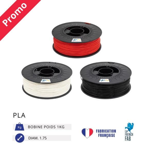 CAPIFIL - Fil imprimante 3D PLA 1KG - Promo rouge blanc noir